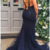 Spaghetti Straps Mermaid Beading Dark Navy Long Prom Dress,F1634