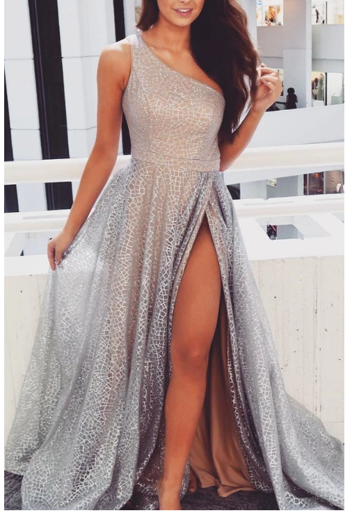 Gorgeous One Shoulder Silver Long Prom Dress with Slit,F1636