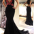 Sexy Mermaid Deep V Neck Black Evening Dress with Open Back,F1637
