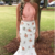 Princess Two Piece Mermaid Floral Prom Dress with Lace,F1638