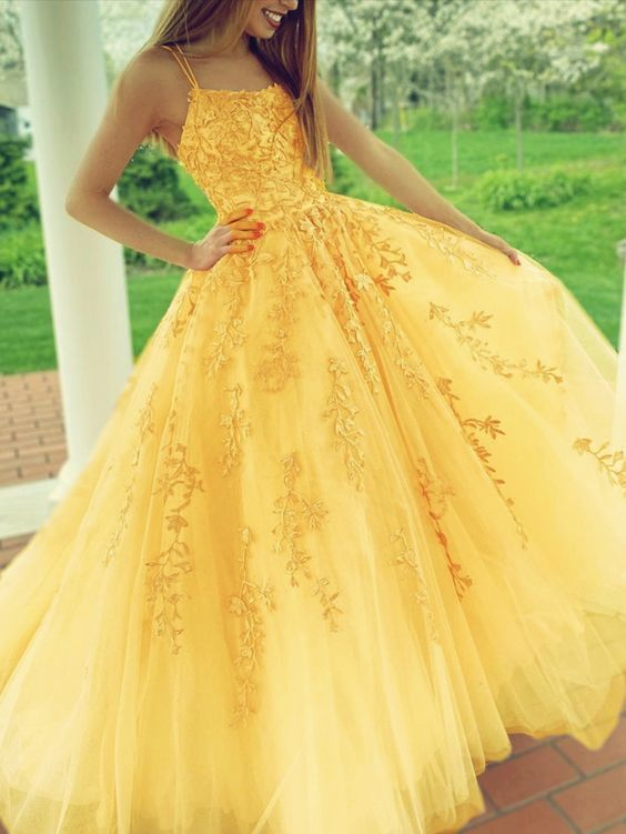 yellow prom dresses lace embroidery ball gown with multi straps,F1646