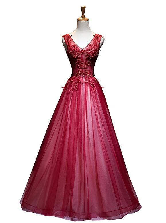 Beautiful Red Tulle Lace Applique Long Party Gown, Red Prom Dress