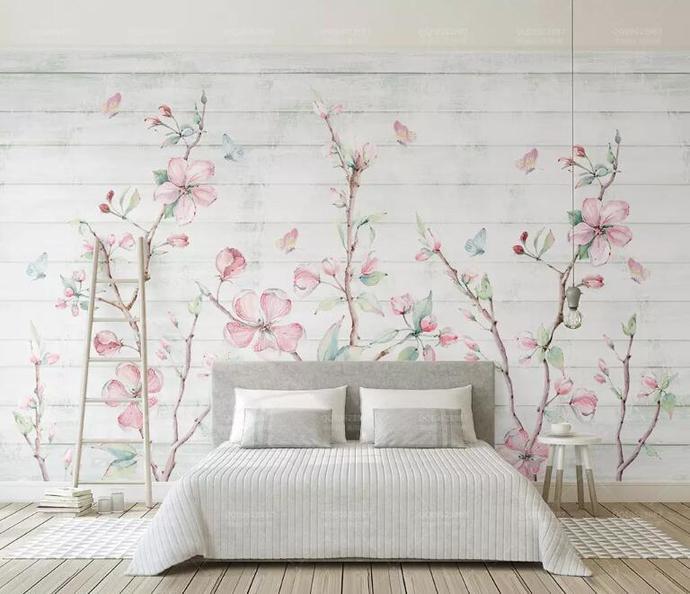 Custom Wallpaper Watercolor Cherry Wood Grain Butterfly TV Background Wall