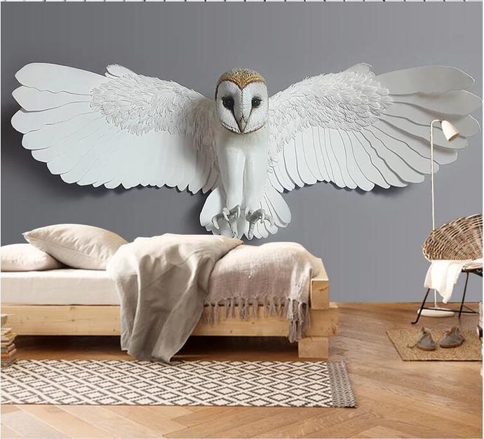 Custom Wallpaper Embossed Owl Animal Pattern TV Sofa Background Wallpaper