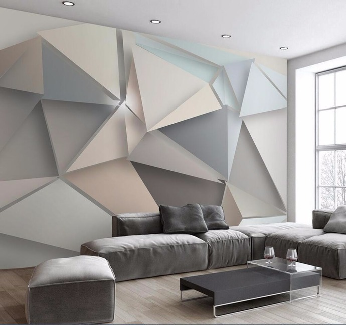 3D Custom Wallpaper Stereo Triangle Modern Simple Style TV Backdrop Wall Murals