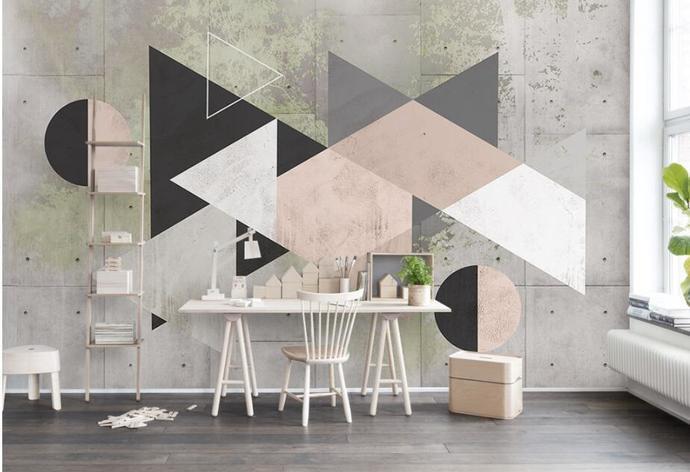 Custom wallpaper Retro Fashion Geometric Triangle Color Block Nordic Minimalist