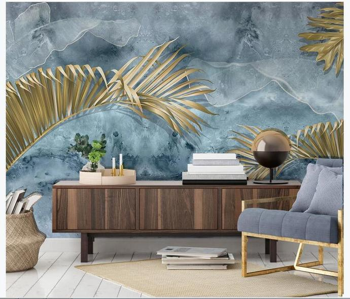 Custom Mural Wallpaper Modern Abstract Blue Cement Wall Plant Golden Leaves Wall