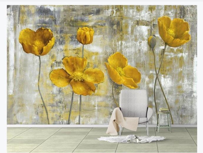 Custom Wall Murals Wallpaper European Style Retro Abstract Flower Mural Art