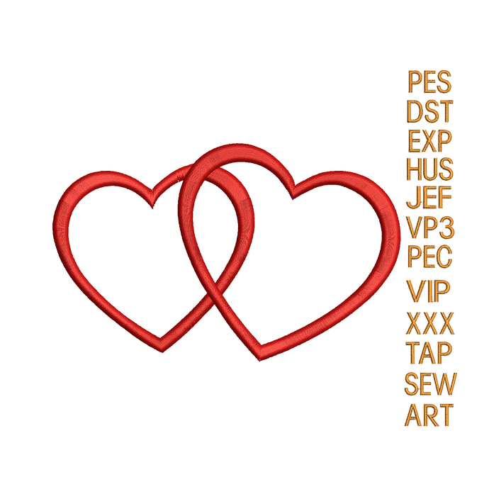 Crossed hearts embroidery design,heart embroidery pattern,embroidery applique,