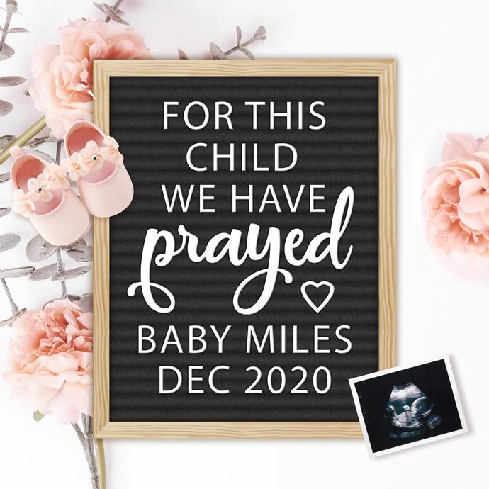 Baby Girl Spring Pregnancy Announcement for Social Media, Digital File,
