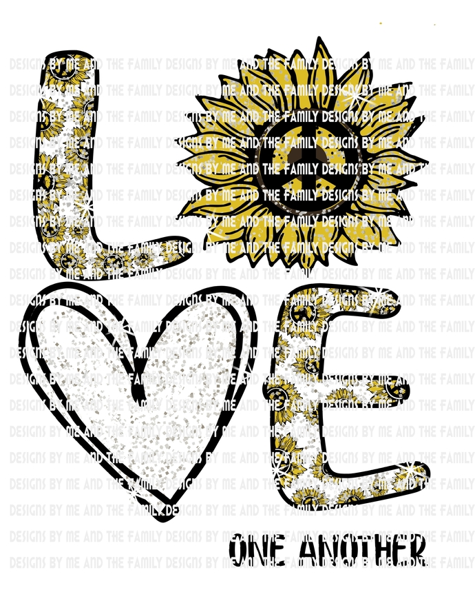 Love one another sunflower glitter print, Peace love traditional sunflower,