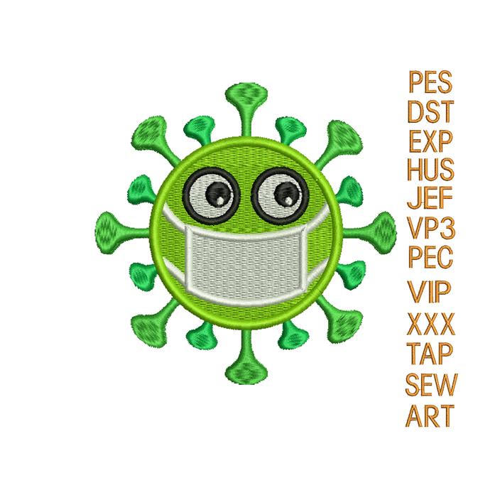 Coronavirus embroidery design, COVID19 embroidery design,corona virus embroidery