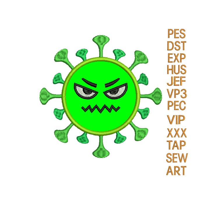 Coronavirus applique embroidery design,COVID19 applique embroidery