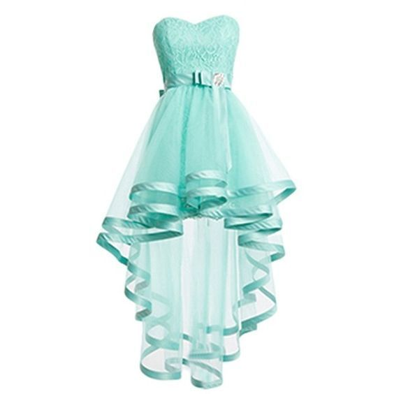 Beautiful Mint Green Tulle High Low Party Dress, Sweetheart Homecoming Dress