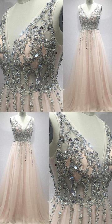 Light Pink Beaded V-neckline Tulle Long Prom Dress, Sequins Party Dress