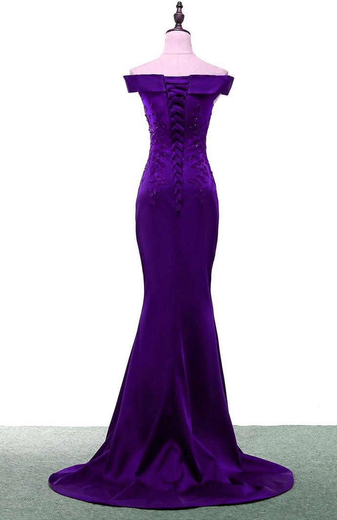 Charming Satin Mermaid Off Shoulder Purple Evening Gown, Long Party Dress