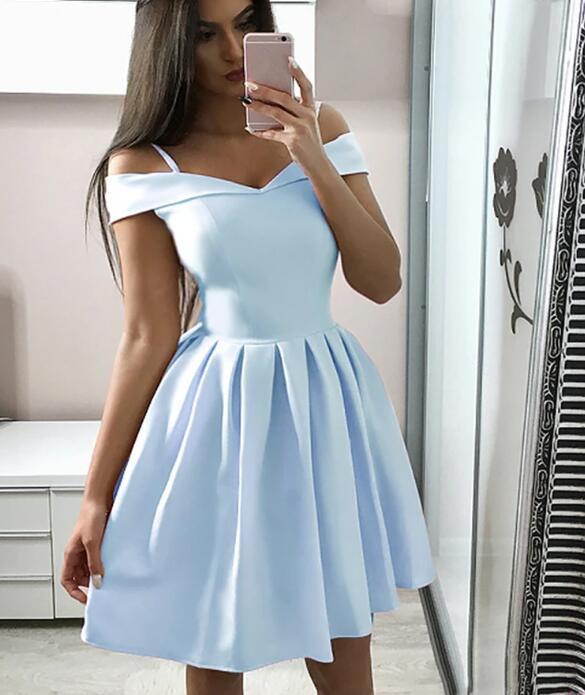 Lovely Off Shoulder Short Light Blue Prom Dresses, Blue Graduation Dresses