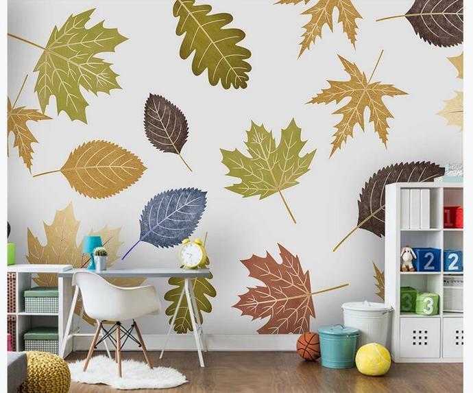Custom Wall Murals Wallpaper Watercolor Palm LeavesMural Art Living Room Bedroom