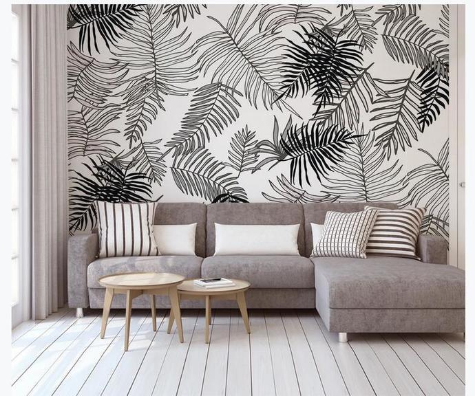 Custom Wall Murals Wallpaper Watercolor Palm Leaves Mural Art Living Room