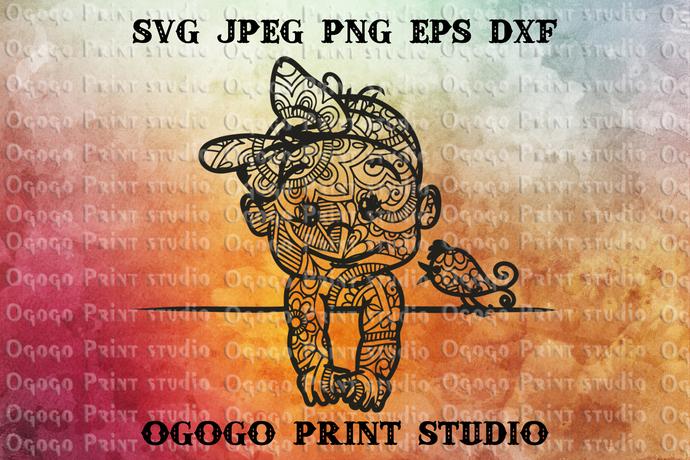 Baby Svg Girl Svg Zentangle Svg Mandala By Ogogo Print On Zibbet