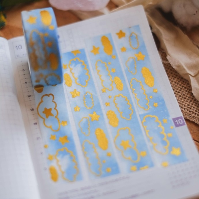 London Gifties x Rainbowholic foil masking tape - Cloudy Skies - 2cm wide foil