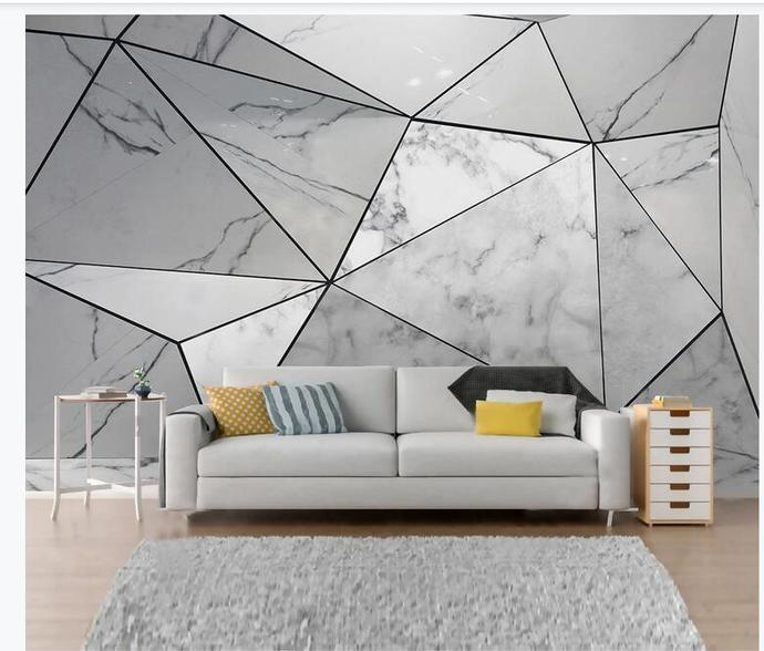 Simple Geometry Marble Wallpaper , Grey Marble Wall Mural Wall Decor for Living