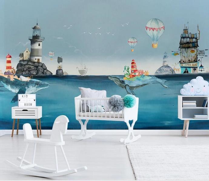 Nordic Cartoon Sea World Big Shark and House Kids' Room Babies ' Room Wall Mural