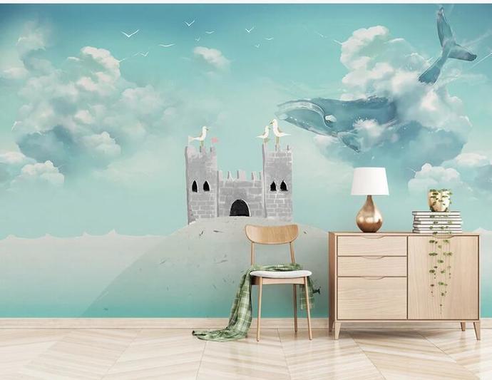 Nordic Dreamy Sky and Big Shark Kids' Room Babies ' Room Wall Mural Wall Decor