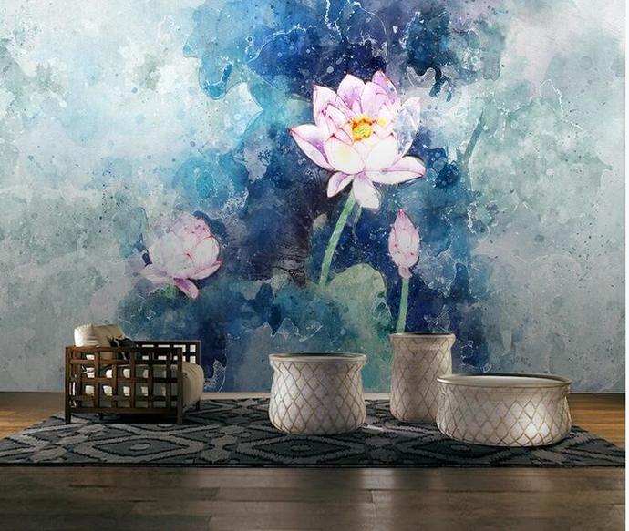 Custom Wall Murals Wallpaper Watercolor Lotus and Flower Bone Mural Art Living