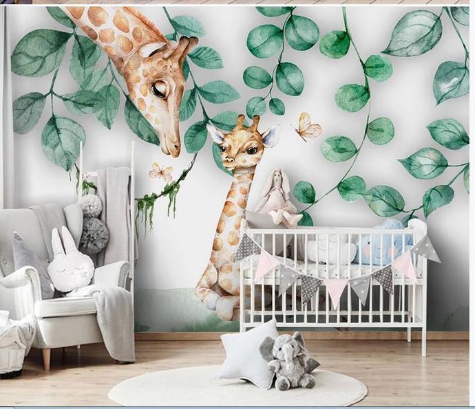 Nordic Dreamy Hanging Fresh Leaves and Lovely Deers Kids' Room Babies ' Room