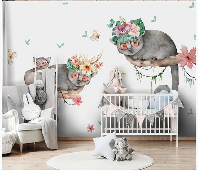 Nordic Lovely Animals Kids' Room Babies ' Room Wall Mural Wall Decor for Living