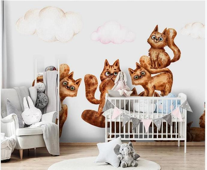 Lovely Squirrels Animals Kids' Room Babies ' Room Wall Mural Wall Decor