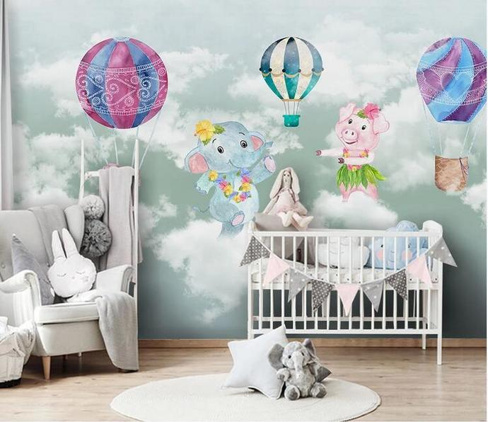 Nordic Lovely Animals Elephants and Pig with Hot-air Balloon Kids' Room Babies'