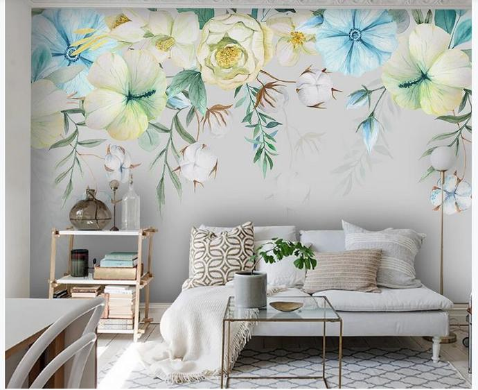 Watercolor Hanging Tropical Plants and Flowers Wallpaper Wall Mural Wall Decor