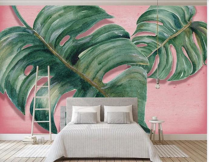 Custom Wall Murals Wallpaper Watercolor Banana Leaves Mural Art Living Room