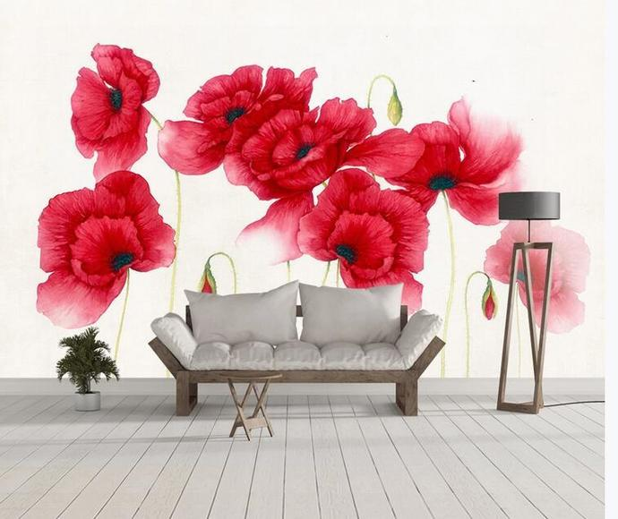 Custom Wall Murals Wallpaper Watercolor Poppy Red Flower Mural Art Living Room