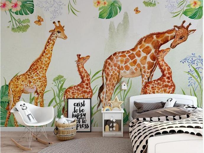 Lovely Deer Animals Hanging Leaves Kids' Room Babies ' Room Wall Mural Wall