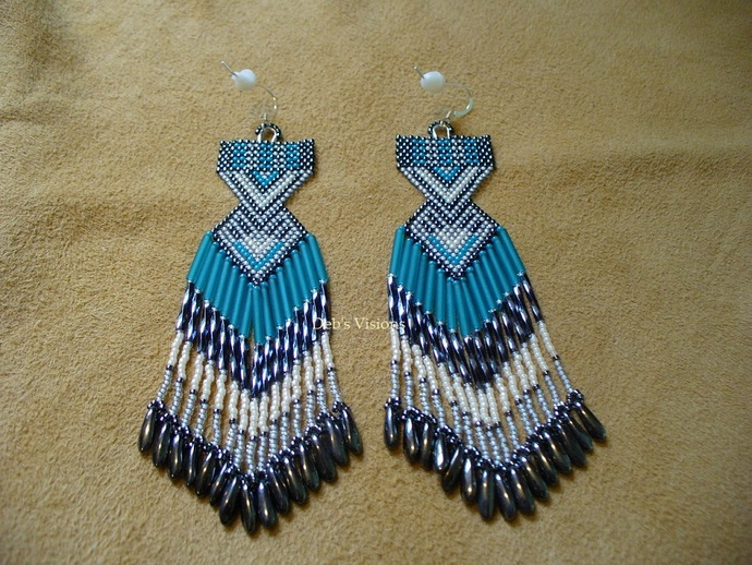 Native American Style Brick Stitched Geometric Earrings in Teal,Hematite,Dove