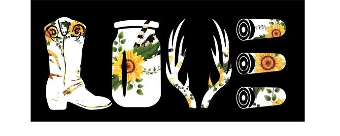 Love sunflower cowgirl boot mason jar deer horns shotgun shells, white, Country
