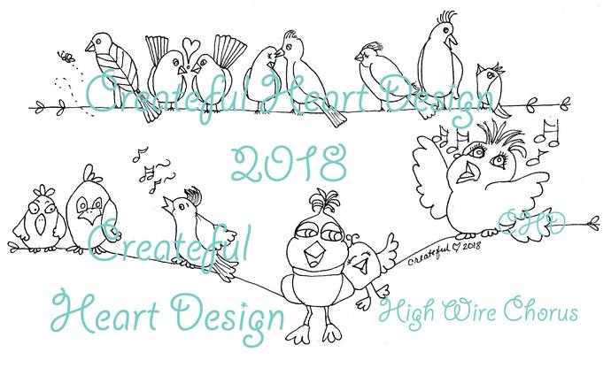 High Wire Chorus - Birds, love birds, silly birds, singing birds, digital image,