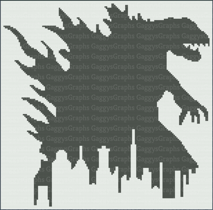 Godzilla 2-color  Toddler size blankie, Graph + Color coded block written