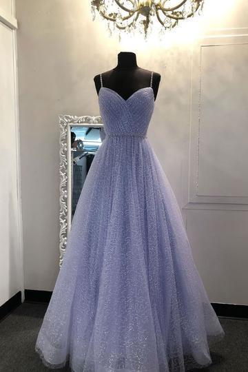 BLUE SWEETHEART TULLE SEQUIN LONG PROM DRESS BLUE FORMAL DRESS,F1650