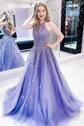 CUTE PURPLE TULLE LACE LONG PROM DRESS PURPLE LACE FORMAL DRESS,F1653