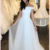 SIMPLE WHITE OFF SHOULDER LONG PROM DRESS WHITE TULLE FORMAL DRESS,F1658