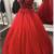 ELEGANT RED V NECK TULLE LACE PROM DRESS FORMAL DRESS,F1659