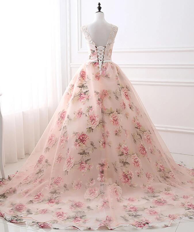 Pink Floral Organza Long Party Dress, New Sweet 16 Gown