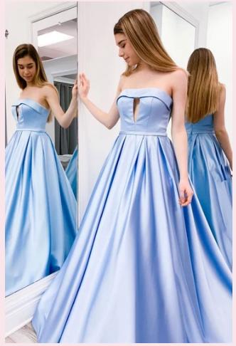 SIMPLE BLUE SATIN LONG PROM DRESS BLUE EVENING DRESS,F1663