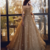 CHAMPAGNE ROUND NECK TULLE SEQUIN LONG PROM DRESS TULLE FORMAL DRESS,F1664