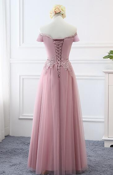 Lovely Pink Off Shoulder Long Party Dress, A-line Bridesmaid dress