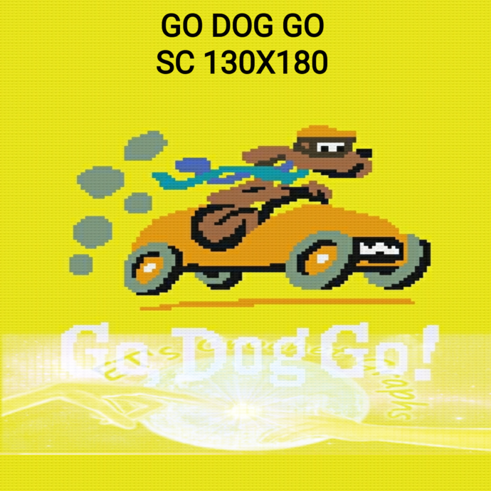 Go Dog Go SC 130x180 includes Graphs with Color Block Instructions